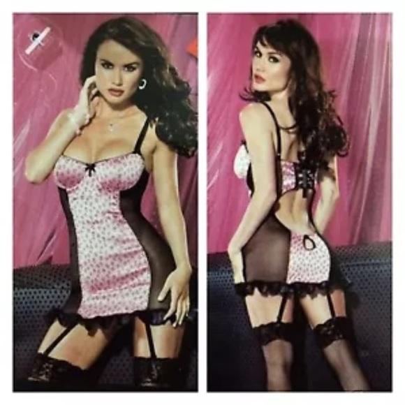 NWT Pink Animal Print Bustier Chemise Garter Belt 556a79454